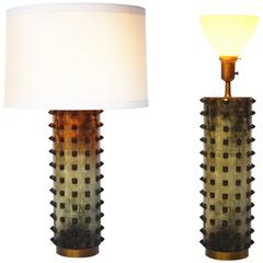 Single Leather Lamp with Studs by Tommi Parzinger