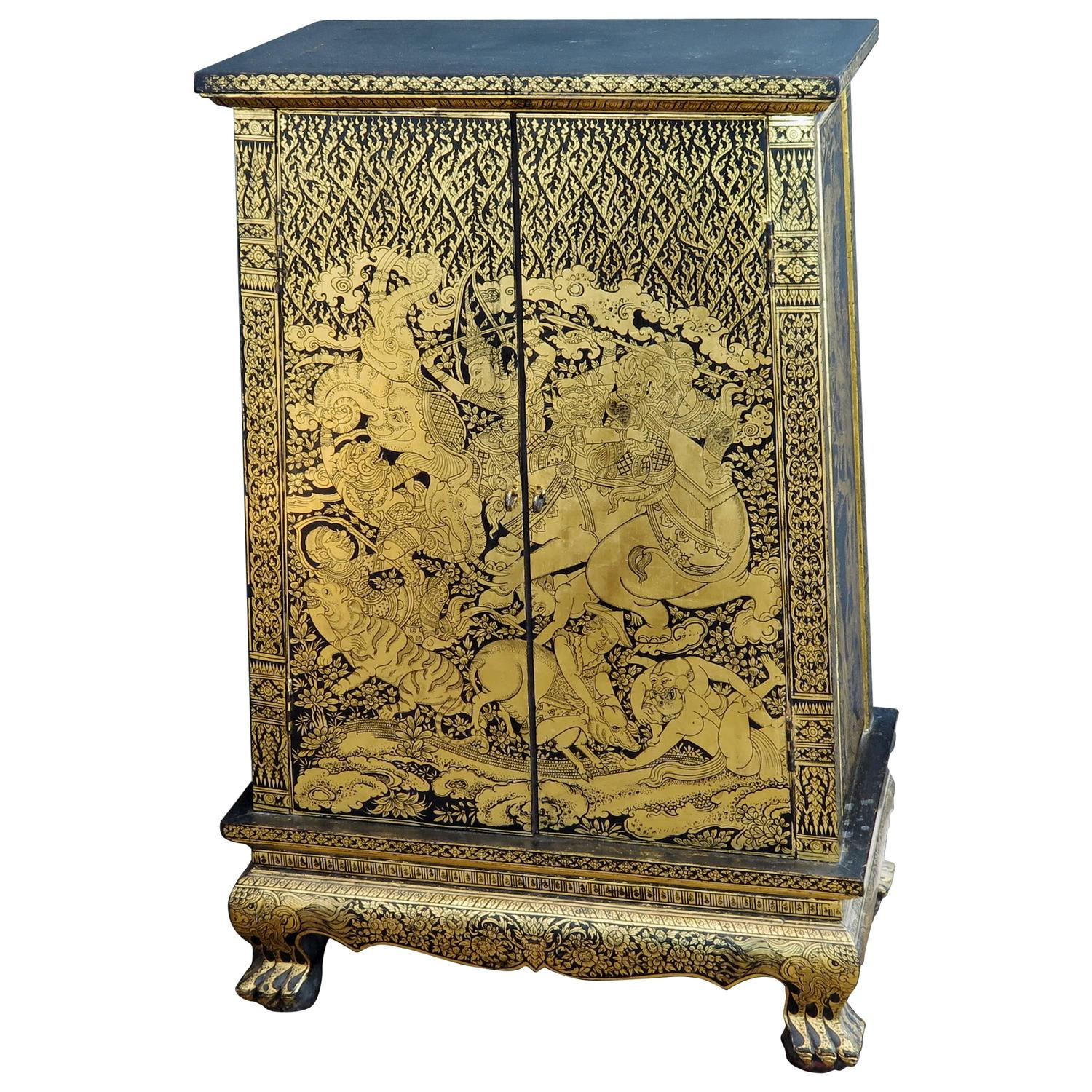 Stunning Thai Gold And Lacquer Decorated Teak Manuscript Cabinet For Sale  At 1stdibs