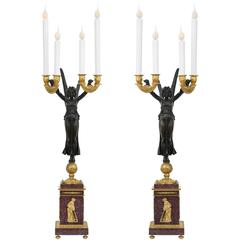 True Pair of French 19th Century Neoclassical Style Electrified Candelabra