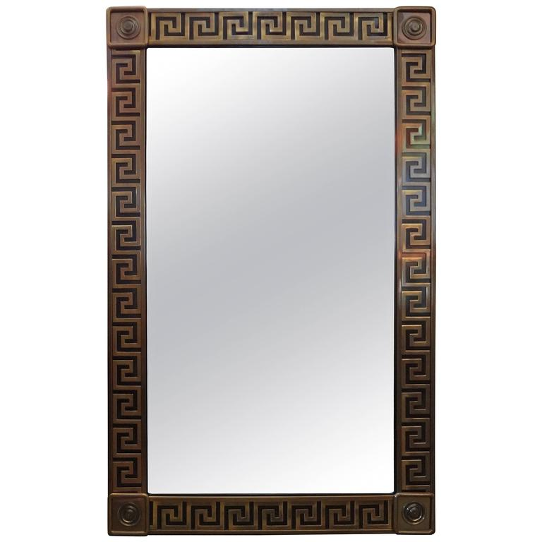 Brass Greek Key Beveled Mirror by Mastercraft 1