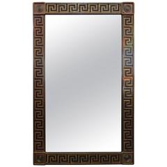 Brass Greek Key Beveled Mirror by Mastercraft