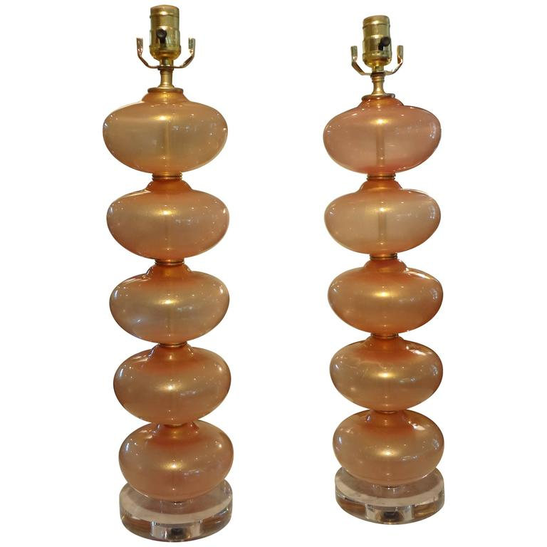Pair Of  Italian Murano Glass Lamps, Peach Infused With Gold By Balboa