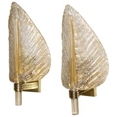 Pair of Barovier & Toso Murano Glass Plume Leaf Wall Sconces