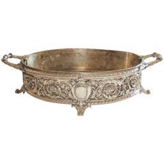 Beautiful Christofle France Silver Plated Bronze Jardiniere Filigree Centerpiece
