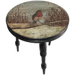 Amazing 19th Century Pictorial Bird Foot Stool