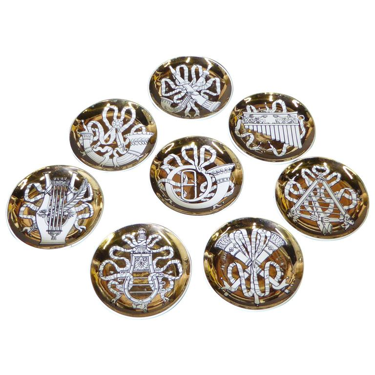 Eight 1950s Piero Fornasetti Musicalia Canapes or Coasters For Sale