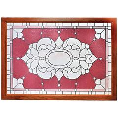 Large Victorian Landing Window with Cranberry Rippled Glass and Zippercut Center