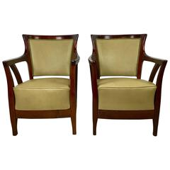 Pair of Walnut and Leather Vienna Secessionist Club Chairs