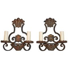 Beautiful French 1920 Handmade Wrought Iron Sconces