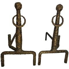 Exceptional Pair of Brutalist Bronze Andirons in the Manner of Giacometti