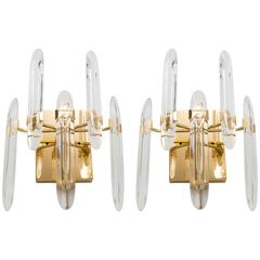 Sciolari Italian Brass and Crystal Sconces