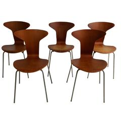"Rare, Early Set of Five Teak ""Mosquito"" Chairs, Arne Jacobsen/Fritz Hansen"