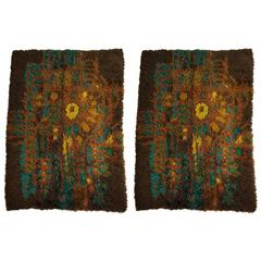 Matched Pair of Danish Modern Ege Rya Rugs, All Wool, Unusual Colors