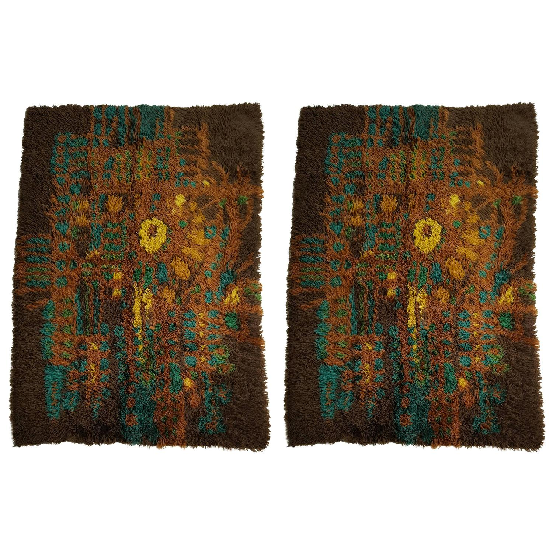 Matched Pair Of Danish Modern Ege Rya Rugs, All Wool