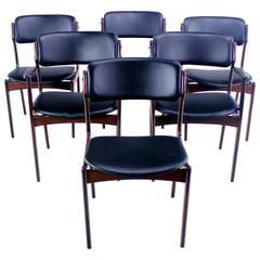 Set of Six Danish Modern Rosewood Dining Chairs Designed by Erik Buck