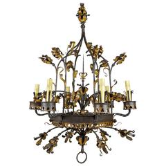 French Renaissance Style Wrought Iron and Gilt Six-Light Chandelier