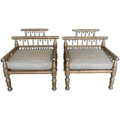 Moroccan Armchairs with Hand-Painted and Silver Details