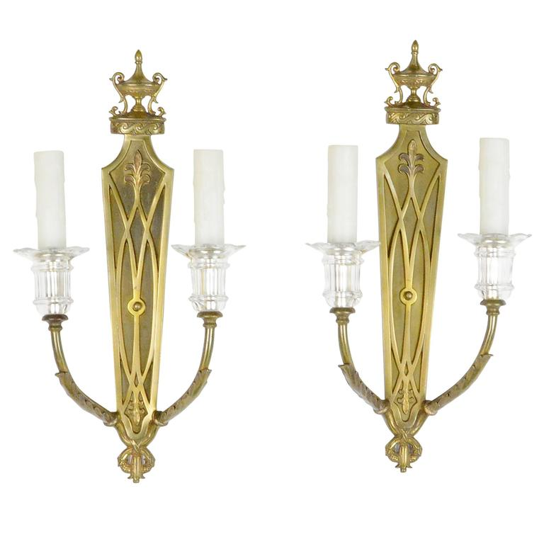 Pair of Neoclassical Style Two-Light Gilt Bronze Wall Sconces