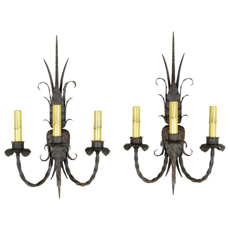 Iron Wall Sconces Lighting : Pair of Wrought Iron Three-Light Wall Sconces For Sale at 1stdibs