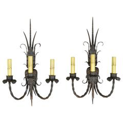 Pair of Wrought Iron Three-Light Wall Sconces