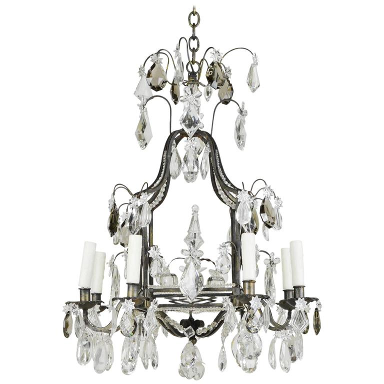Fine French Iron and Crystal Eight-Light Cage Form Chandelier
