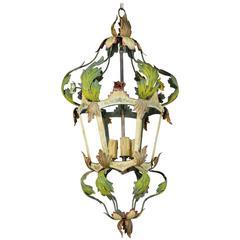 Italian Tole Painted Three-Light Lantern