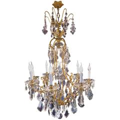 French Mid-20th Century Louis XV Style Ormolu and Crystal Chandelier, circa 1950