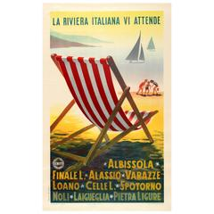 Original Vintage ENIT Travel Advertising Poster, the Italian Riviera Awaits You