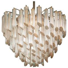 Magnificent Hand-Cut Crystal Glass Chandelier with Gold Inclusions by Camer