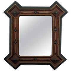 Large Three Color Tramp Art Mirror