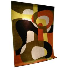 French Handmade Abstract Expressionist Rug, 1970s