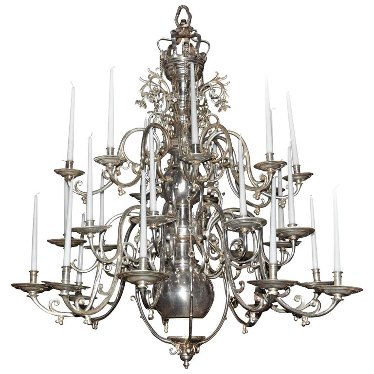 Palatial 18th Century German Baroque Nickel Chandelier