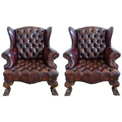 Pair of English Chippendale Style Wingback Armchairs