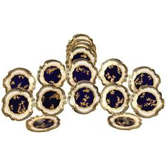 Set of 18 Copeland Aesthetic Movement Cobalt Blue and Raised Gold Dessert Plates
