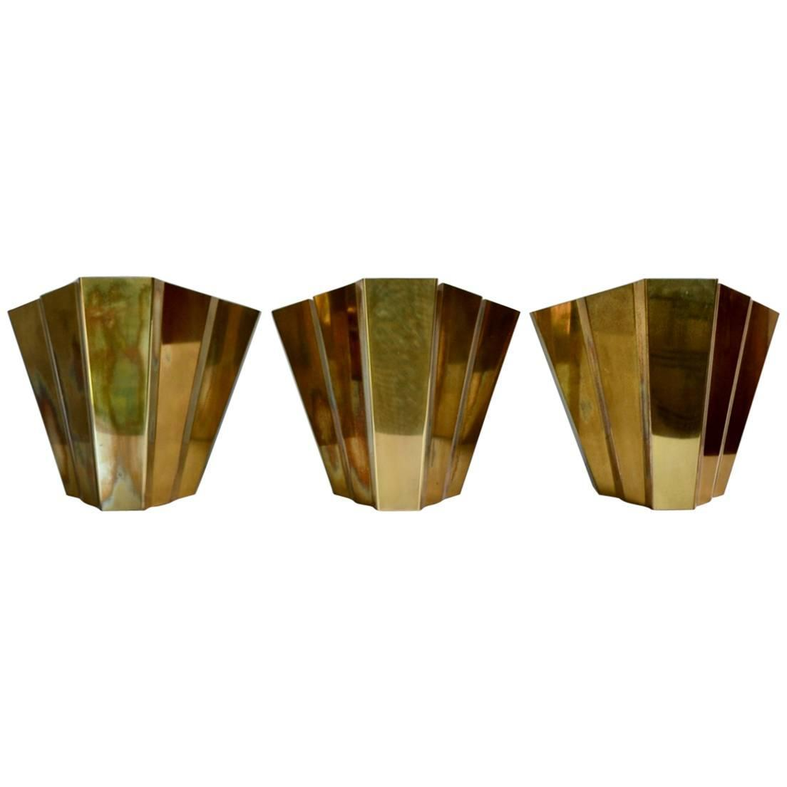 Art Deco Style Wall Sconces : Set of Three Art Deco Style Italian Brass Wall Sconces, 1980s at 1stdibs