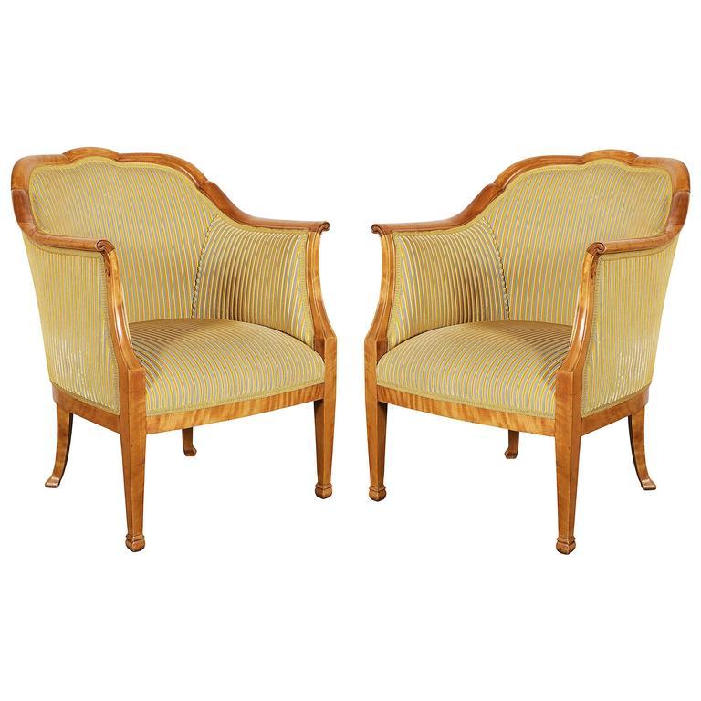 Pair of Swedish Biedermeier Birch Bergere Armchairs