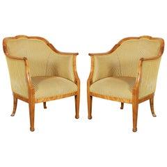 Paar Schwedische Biedermeier Bergere Sessel aus Birke