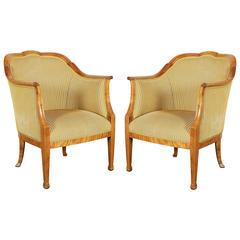 Pair of Swedish Biedermeier Birch Bergere Armchairs