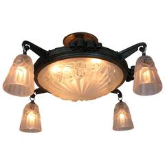 French Art Deco Flush Mount Chandelier by Degue