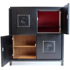 Brutalist Black Ebonized Bar Cabinet with Graphic Doors, Belgium