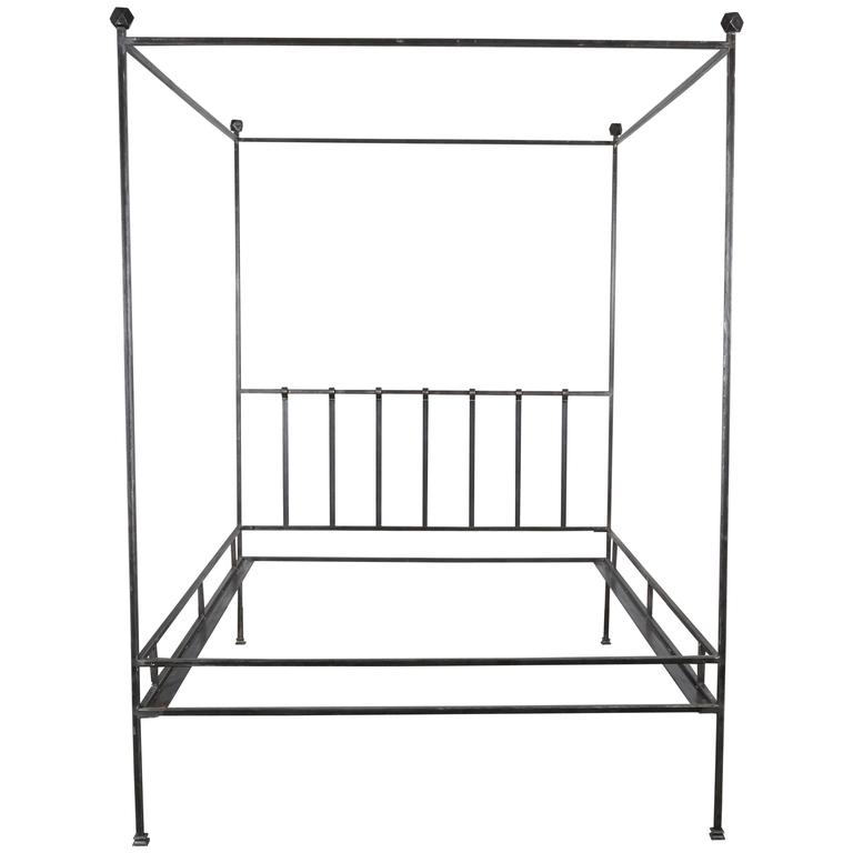 Hand polished iron four poster queen bed frame for sale at for Wrought iron four poster bed frames