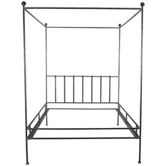Hand-Polished Iron Four Poster Queen Bed Frame