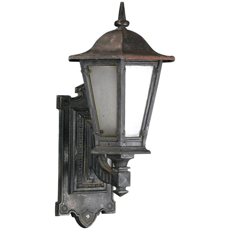 Iron Outdoor Wall Sconces : 1910 Single Cast Iron Outdoor Sconce at 1stdibs