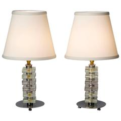1930s French Stacked Glass Boudoir Table Lamps