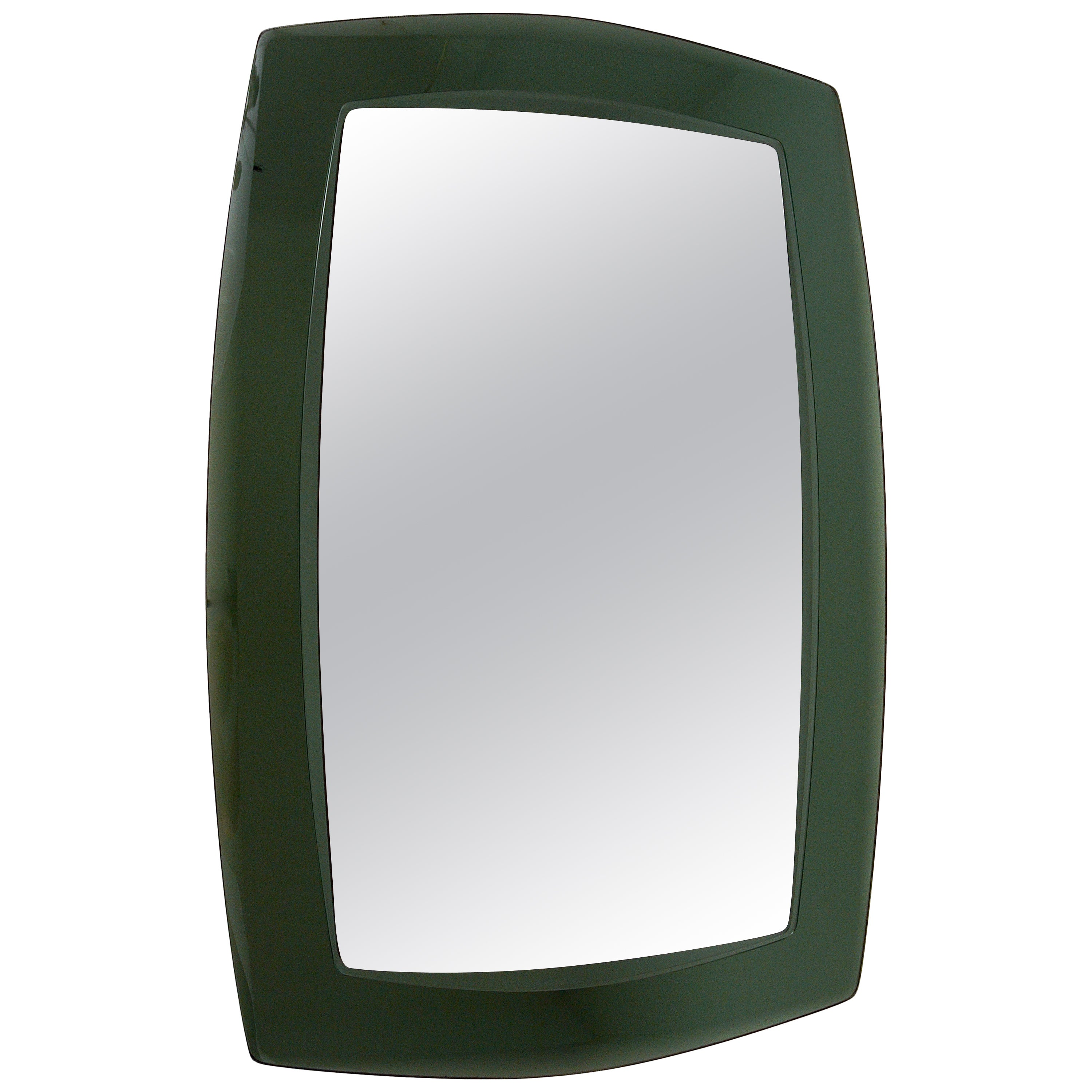 Large Grey/Green Cristal Art Faceted Modernist Wall Mirror, Italy, 1960s