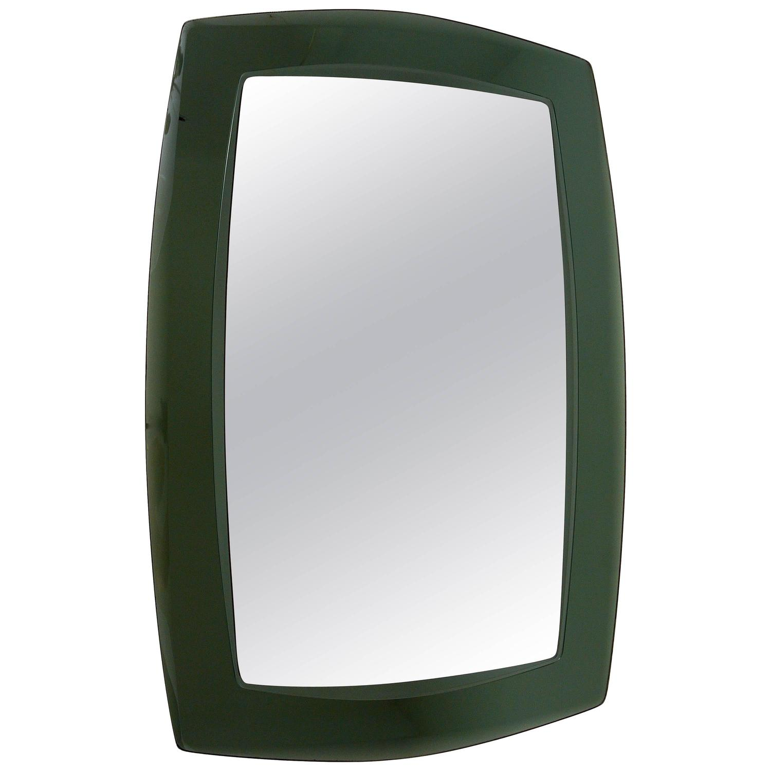 Large Grey/Green Crystal Arte Faceted Modernist Wall Mirror, Italy ...