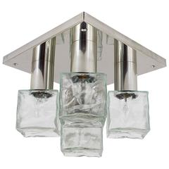 Square Kalmar Flush Mount Chandelier with Five Ice Glass Cubes, Austria, 1960
