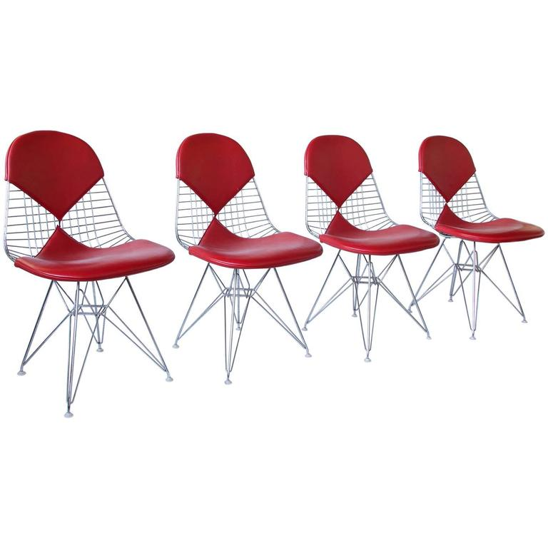 1950 charles and ray eames set of four dkr chairs red for Leather eames dining chair