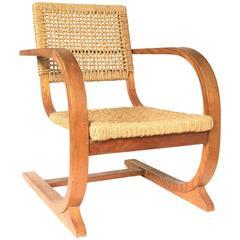 1935, Bas Van Pelt Rope Slung Rare High Back Comfortable Armchair