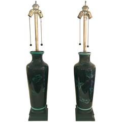 Pair of Japanese Black Mirror Glazed Lamps by Marbro